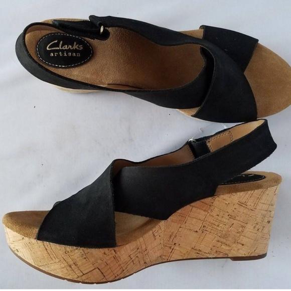 Clarks Black Suede Cork Wedge Sandals